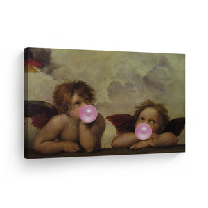 Raphael Masterpiece The Sistine Madonna detail Putti Bubble Gum Pop Art Canvas Prints Metal Prints