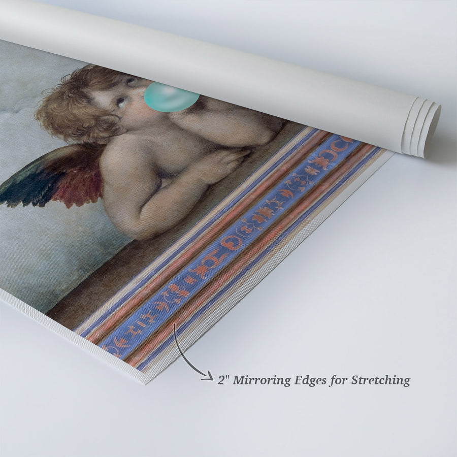 Raphael The Sistine Madonna Teal Blue Bubble Gum Pop Canvas Prints | Metal Prints