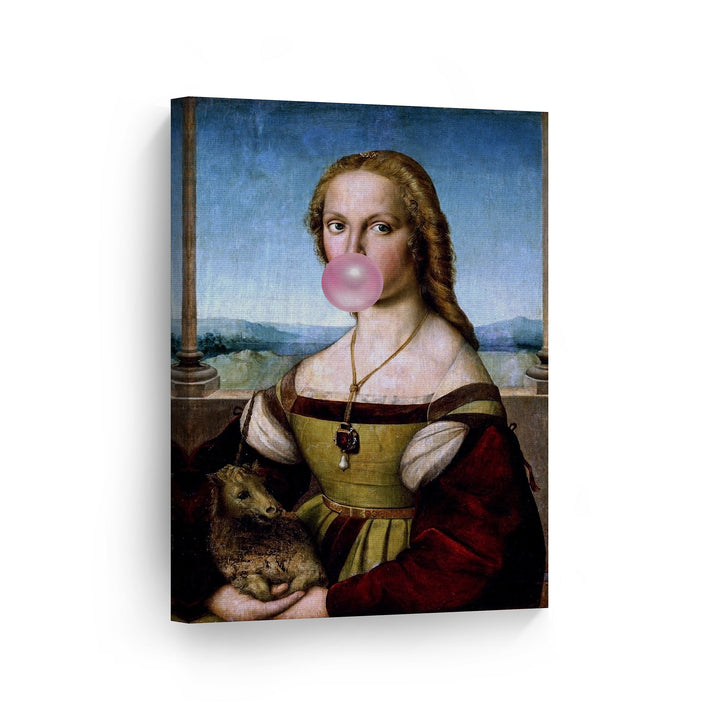 Raphael Lady with a Unicorn Bubble Gum Canvas Print Metal Print