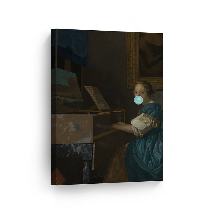 Johannes Vermeer Lady Seated at a Virginal Bubble Gum Canvas Print Metal Print