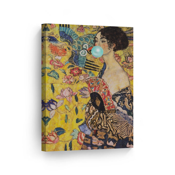 Gustav Klimt Lady with Fun Bubble Gum Canvas Print Metal Print