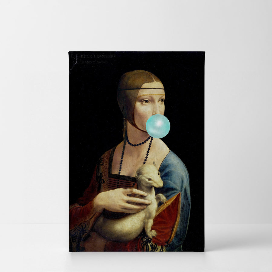 Leonardo Da Vinci Lady with an Ermine Bubble Gum Canvas Print Metal Print