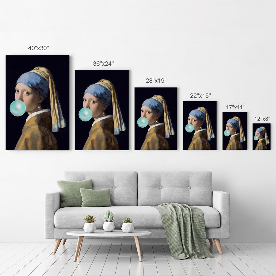Johannes Vermeer Girl with a Pearl Earring Bubble Gum Canvas Print Metal Print