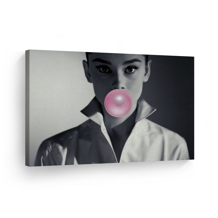 Audrey Hepburn Bubble Gum Pop Art Canvas Prints Metal Prints