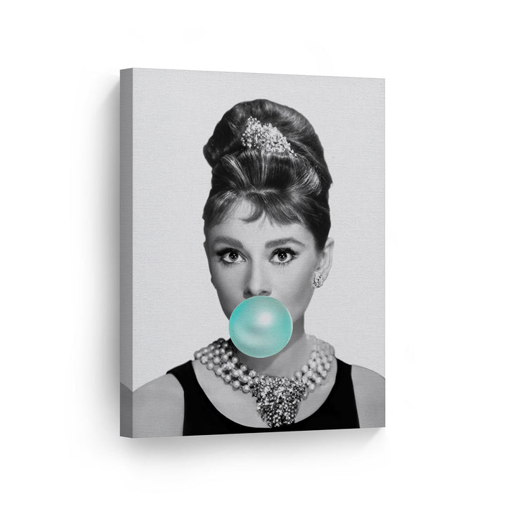 Audrey Hepburn Teal Blue Gum Bubble Gum Black and White Canvas Print Metal Print