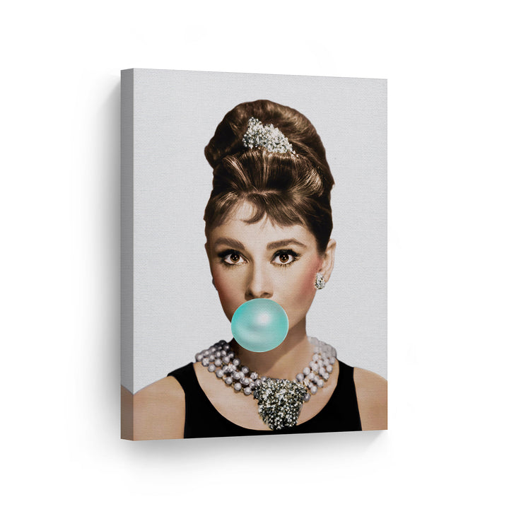 Audrey Hepburn Teal Blue Gum Bubble Gum Canvas Print Metal Print