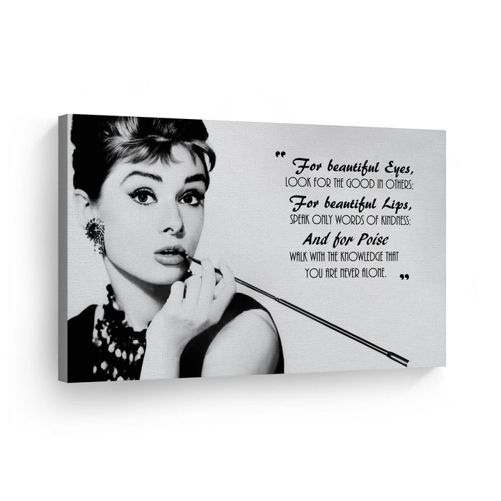 Audrey Hepburn Breakfast at Tiffany`s Quote Iconic Wall Art Canvas Prints Metal Prints