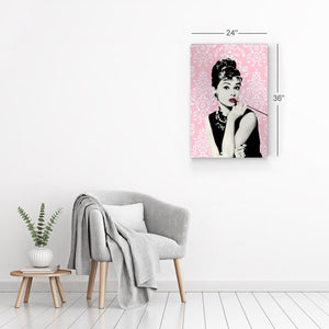 Audrey Hepburn Wall Art Pink Lace Canvas Print Metal Print