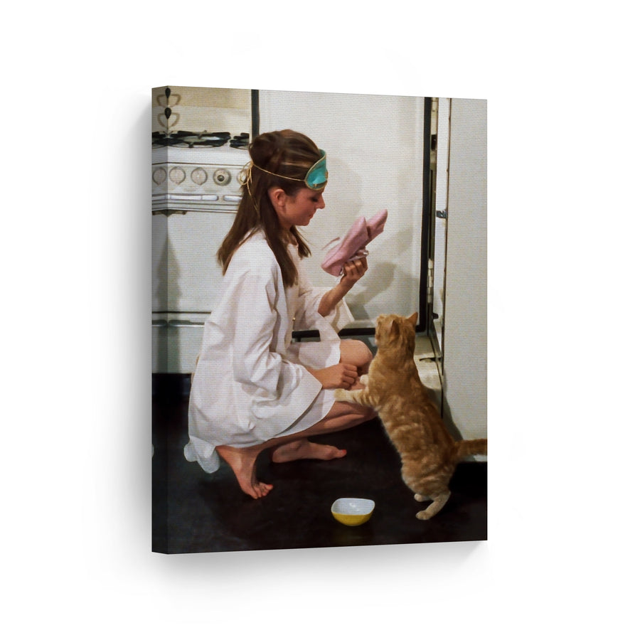 Audrey Hepburn and her Cat in the Kitchen Breakfast at Tiffany's Movie Iconic Wall Art Canvas Prints | Metal Prints