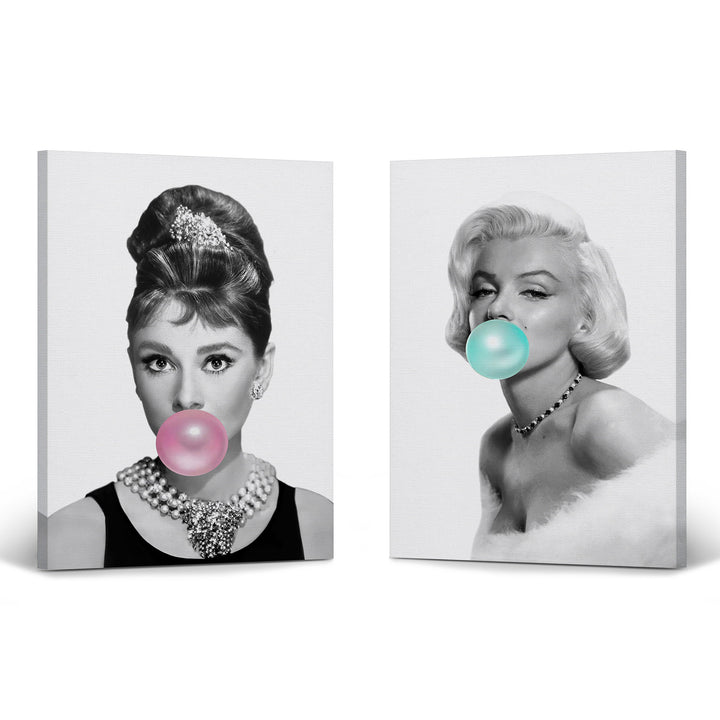 Marilyn Monroe and Audrey Hepburn Wall Art Canvas Prints Metal Prints