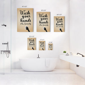 Wash Your Hands No Seriously Vintage Funny Bathroom Quote Wall Decor Smile Art Design