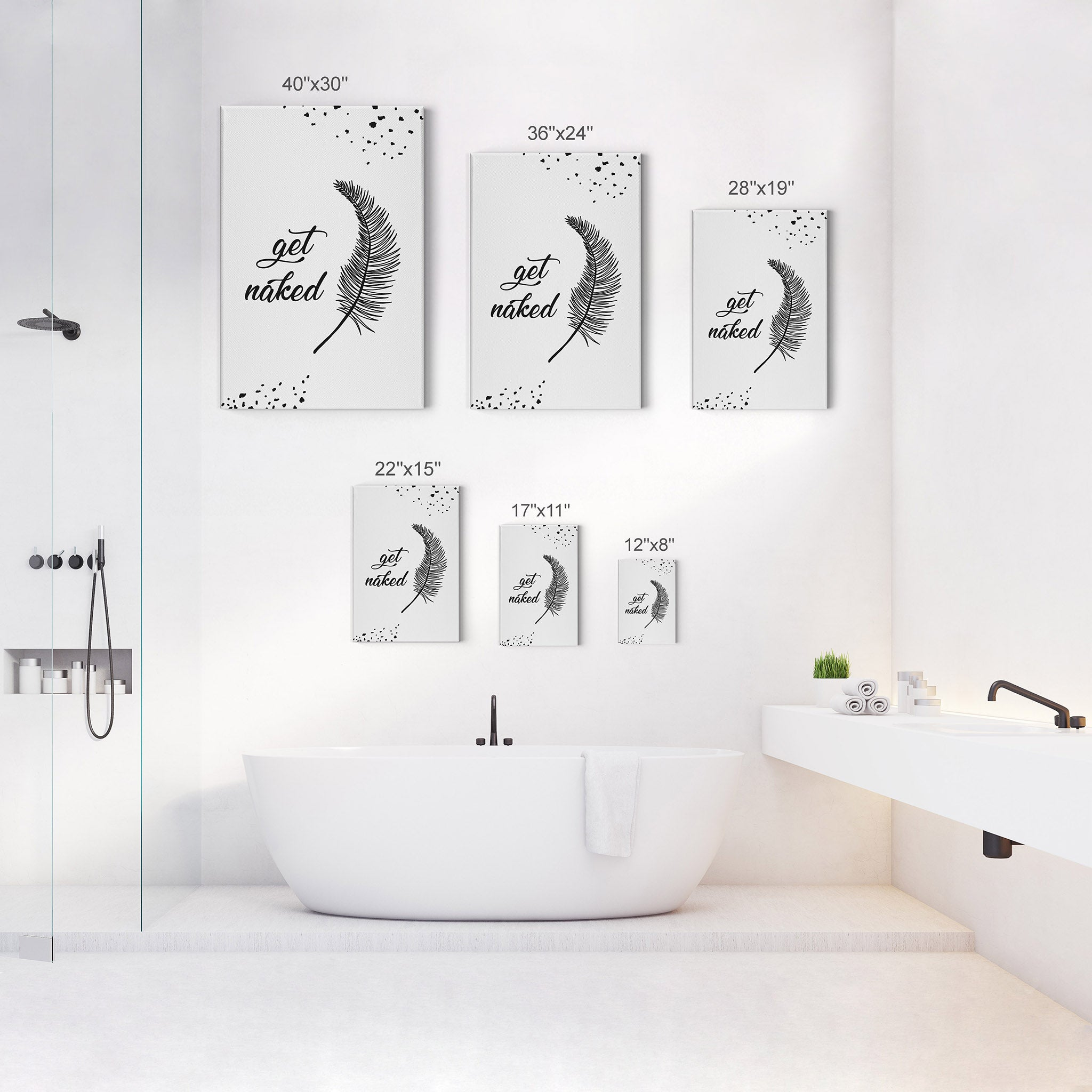 Get Naked Typography Quote Black And White Bathroom Wall Decor Smile Art Design