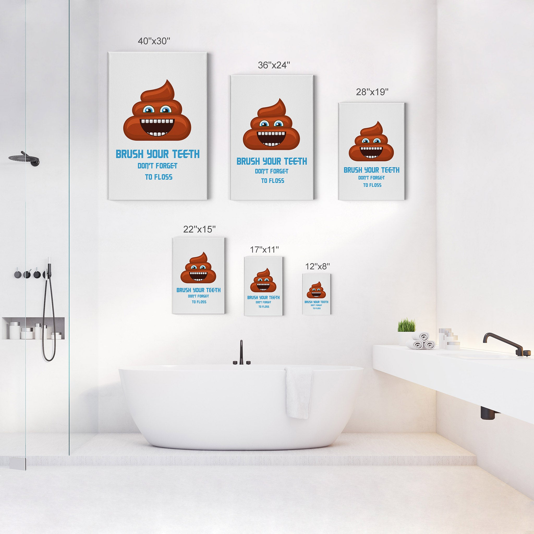 Funny Bathroom Decor Poop Quote Series 4 Pieces Set Wall Art Cute Emoj Smile Art Design
