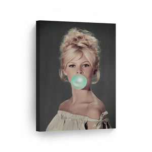 Brigitte Bardot Green Bubble Gum Pop Art Canvas Prints Metal Prints