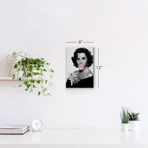 Elizabeth Taylor Pink Bubble Gum Pop Art Canvas Prints Metal Prints