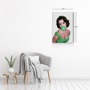 Elizabeth Taylor Green Bubble Gum Pop Art Canvas Prints Metal Prints