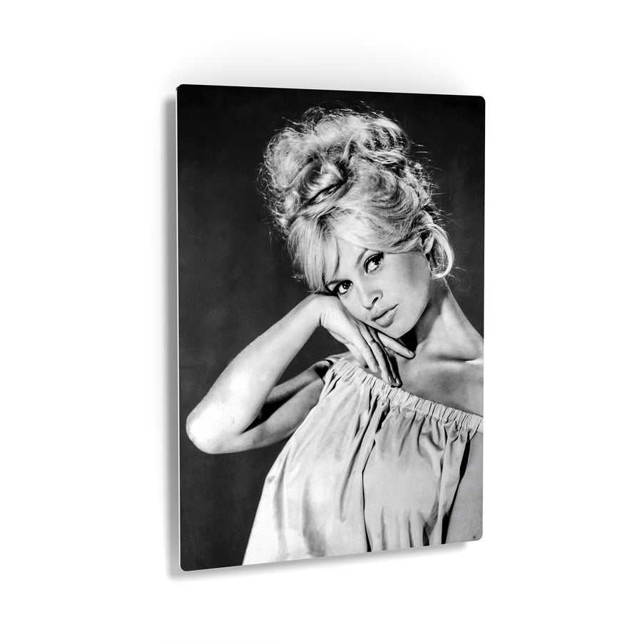 Brigitte Bardot Black and White Canvas Print Metal Print