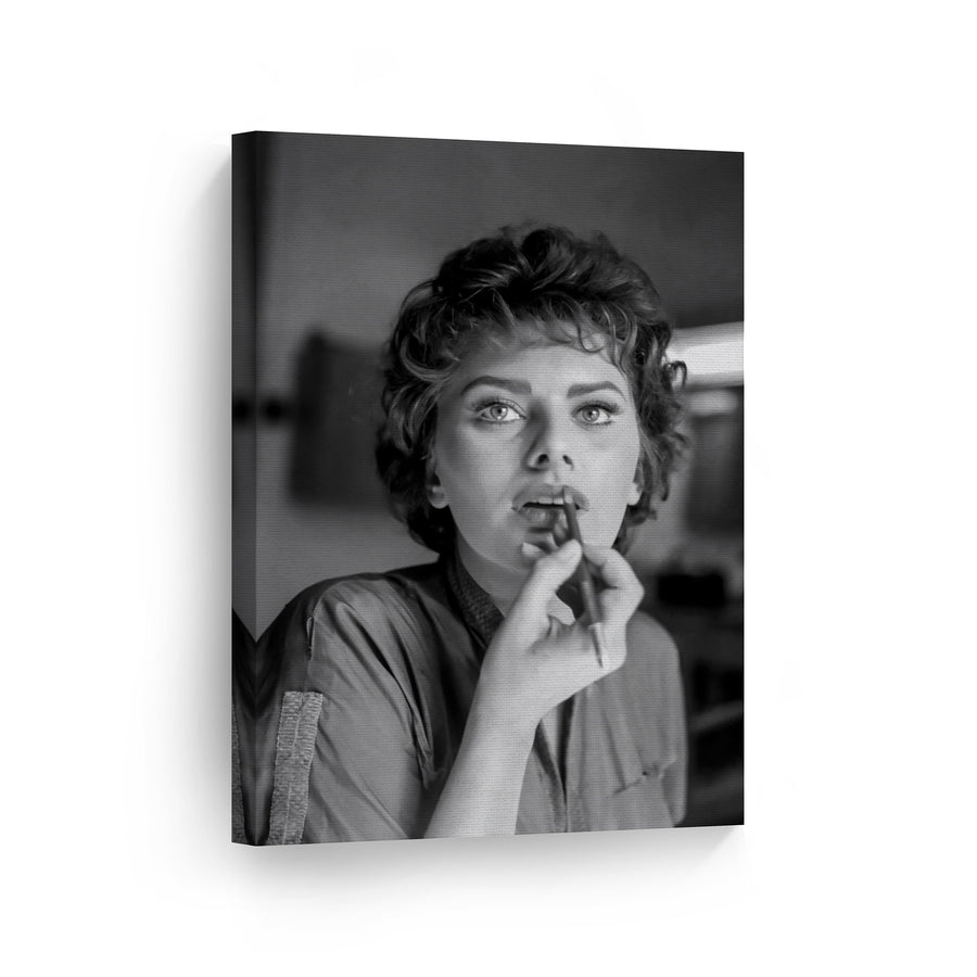 Sophia Loren Black and White Canvas Print Metal Print