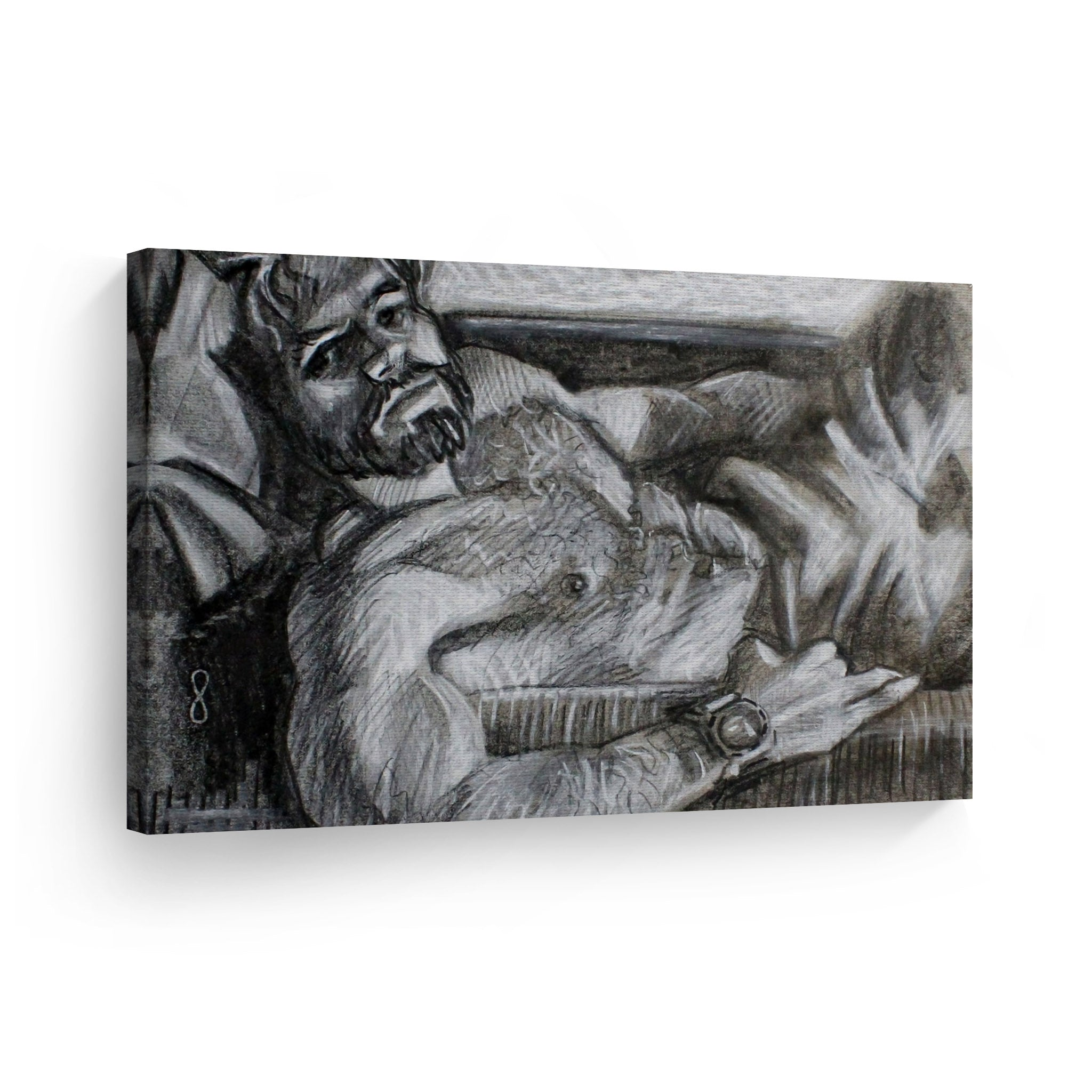 Muscular Hairy Shirtless Man With A Beard Reclining By Kenney Mencher Crayon Painting Gay Wall Art