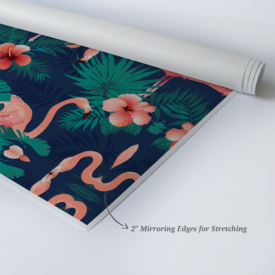 Flower Palm Flamingo Decor Navy Blue Kids Room Decor Nursery Wall Art
