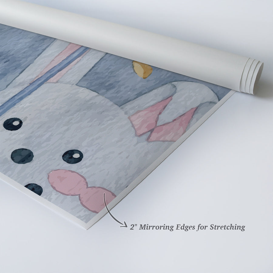 Cute Rabbit Umbrella Painting Gray Background Autumn Theme Kids Room Decor Nursery Wall Art
