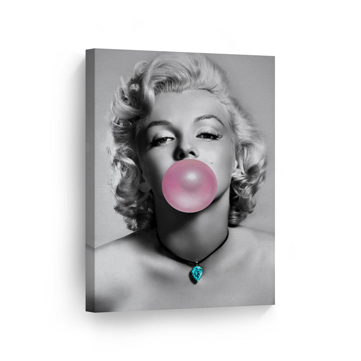 Marilyn Monroe Teal Blue Gum Bubble Gum Canvas Print Metal Print