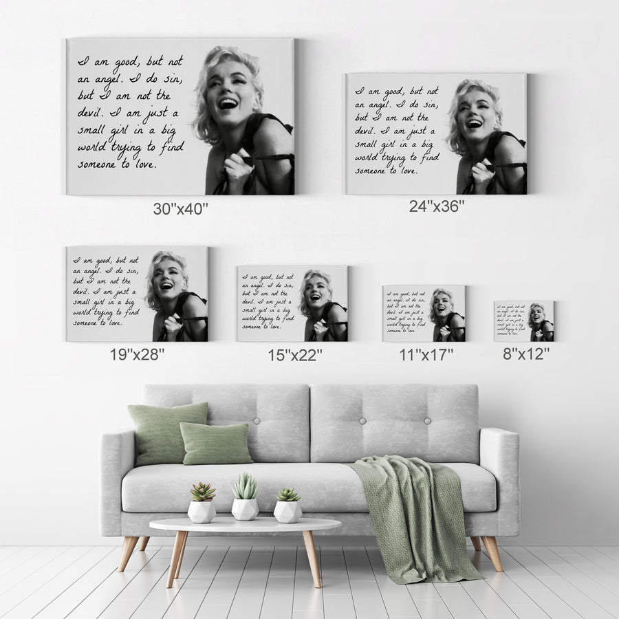Marilyn Monroe Black Quotes 'I am Good but not an Angel' Iconic Wall Art Canvas Prints Metal Prints