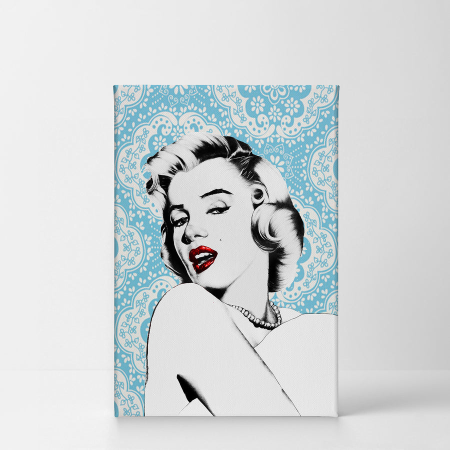 Marilyn Monroe Wall Art Blue Lace Canvas Print Metal Print