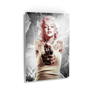 Marilyn Monroe Gun in Hand Wall Art Canvas Prints Metal Prints