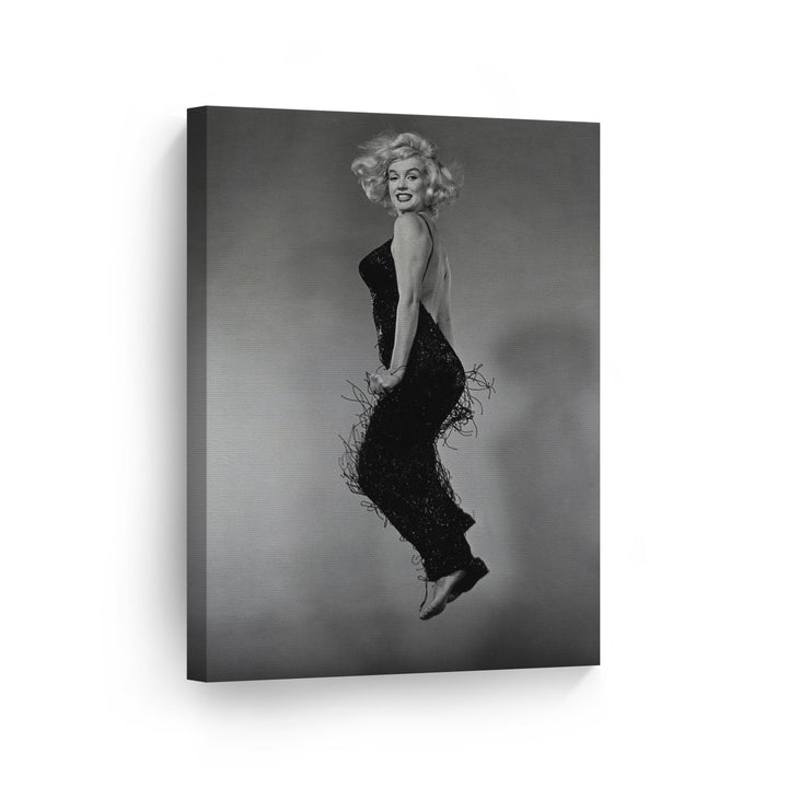 Marilyn Monroe Jumping Black and White Wall Art Canvas Prints Metal Prints