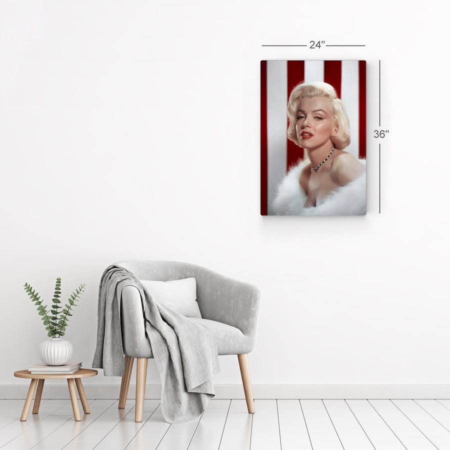 Marilyn Monroe Fur Striped Iconic Wall Art Canvas Prints Metal Prints