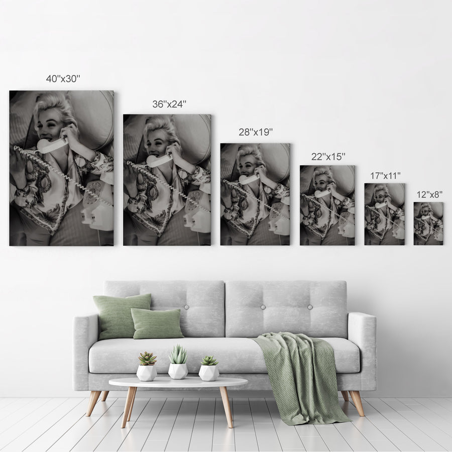 Marilyn Monroe on the Phone Iconic Wall Art Canvas Prints | Metal Prints
