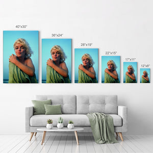 Marilyn Monroe at the Beach Iconic Wall Art Canvas Prints | Metal Prints