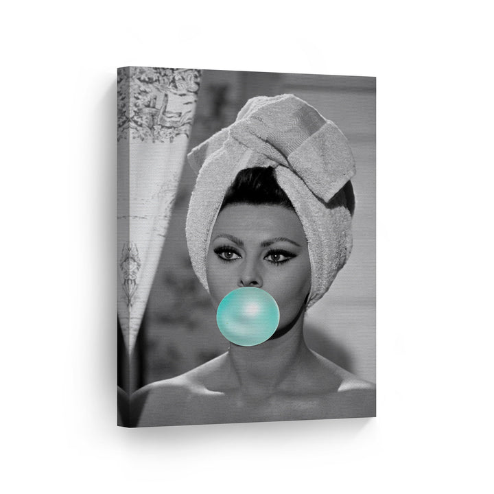 Sophia Loren Teal Blue Bubble Gum Pop Art Canvas Prints Metal Prints