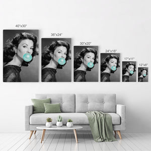 Suzy Parker Teal Blue Bubble Gum Pop Art Canvas Prints Metal Prints