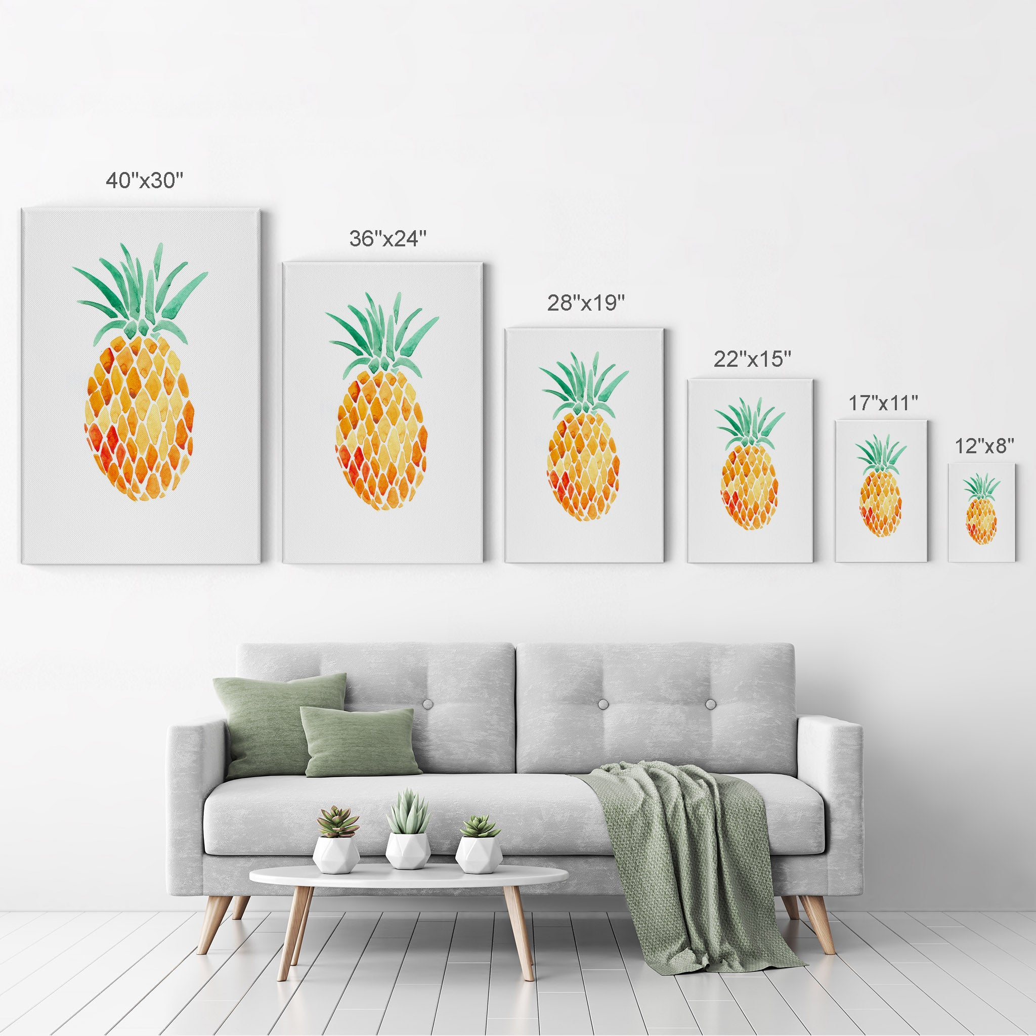 Tropical Pineapple Prints or Canvas Tropical Wood Effect Pineapple Wall Decor Watercolor Pineapple Wall Art Coastal Living Room Set of 3
