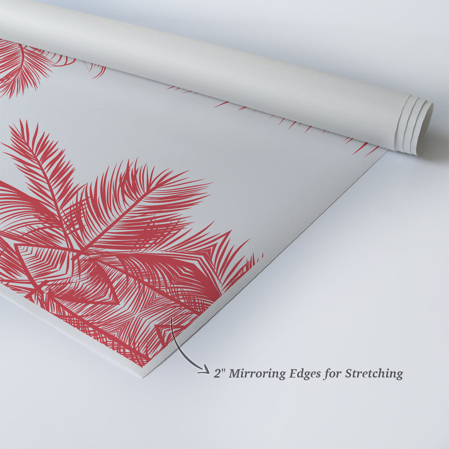 Red Palm Tree Decor Leaves on White Background Tropical Wall Decor