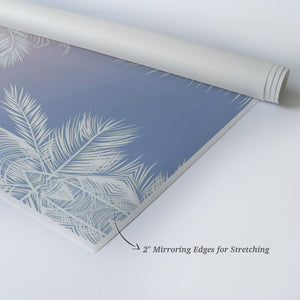 White Palm Tree Decor Leaves on Colorful Sky Tropical Wall Decor