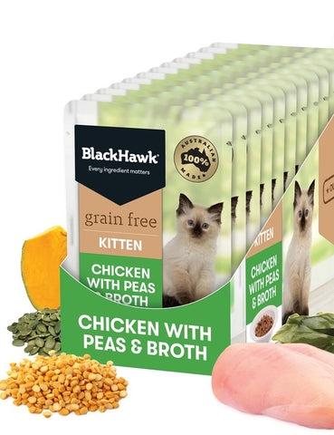 BlackHawk Kitten Chicken & Peas Broth Pouch 85g