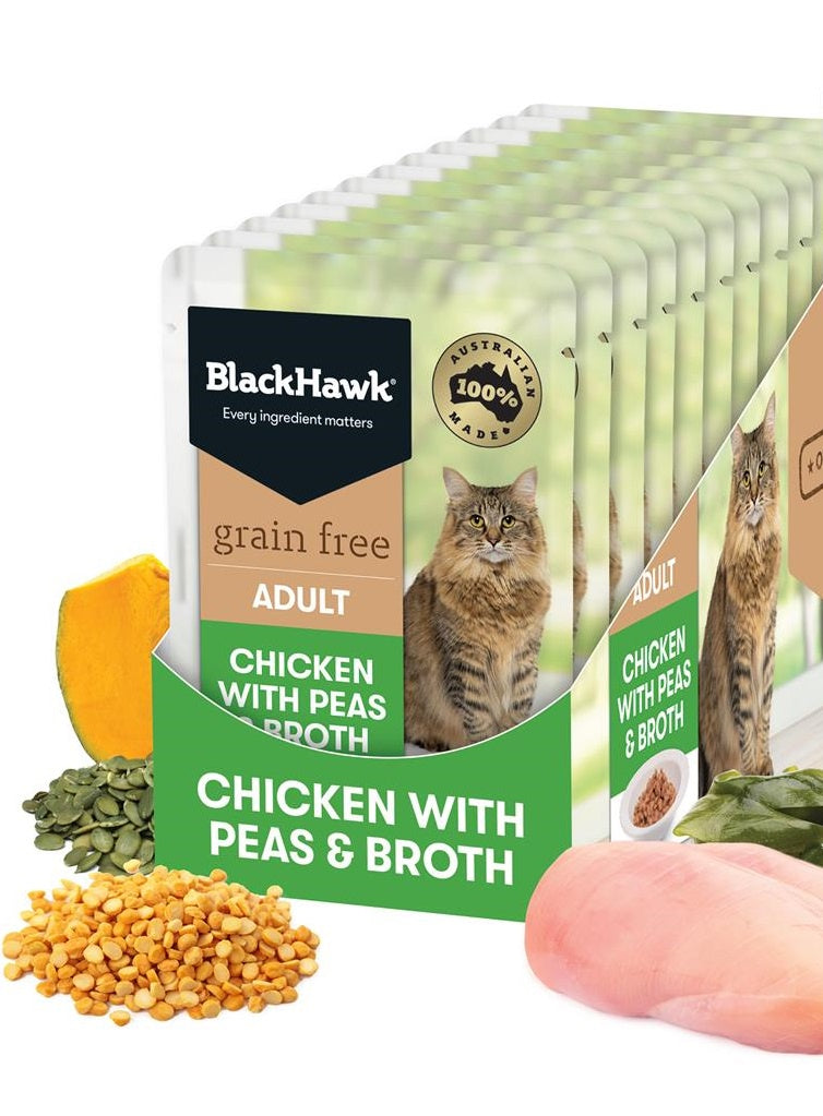 BlackHawk Cat Chicken & Peas Broth Pouch 85g
