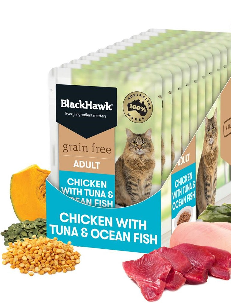BlackHawk Cat Chicken w/ Tuna & Ocean Fish Pouch 85g