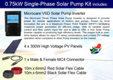 Microcare Solar Pump 0.75kW Single Phase Pump Kit