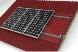Solar Mount 4 X 60 / 72 Cell Portrait Orientation onto Thatched / Harvey Tile Pitched Roof