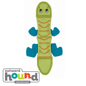 Outward Hound Fire Biterz Lizard Tough Dog Toy 3 Squeaker Green