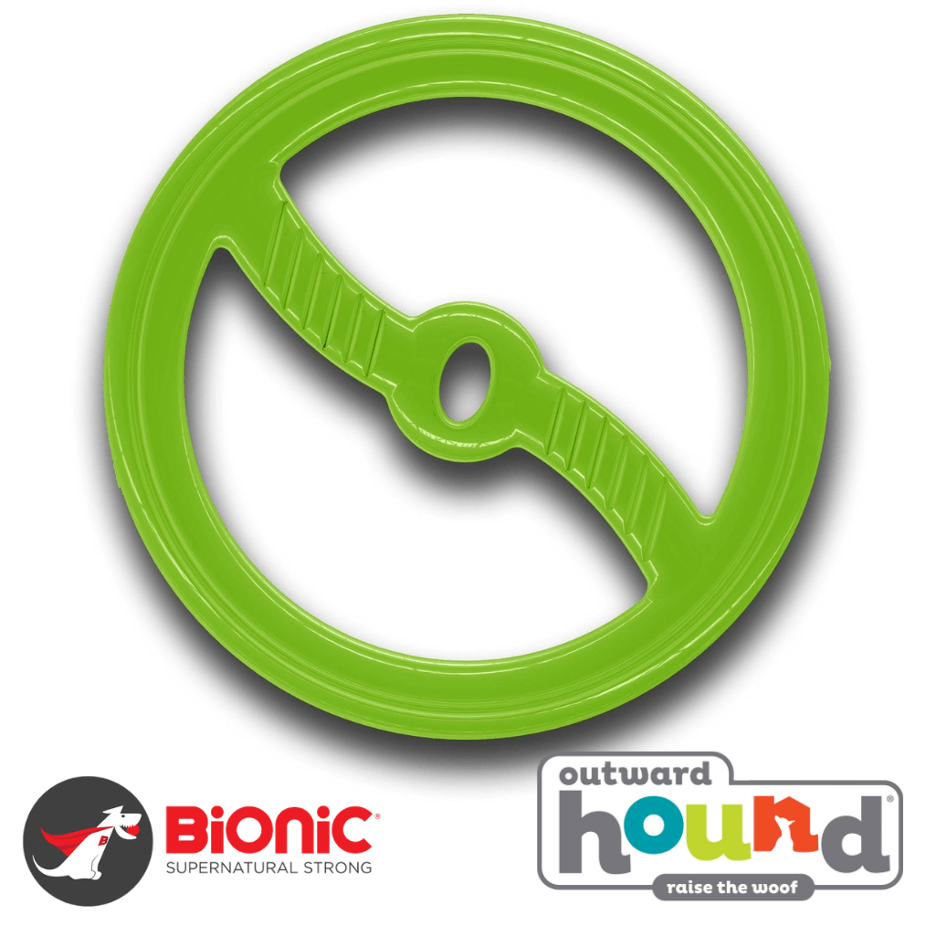 Outward Hound Bionic Toss-N-Tug Interactive Tough Dog Toy Green