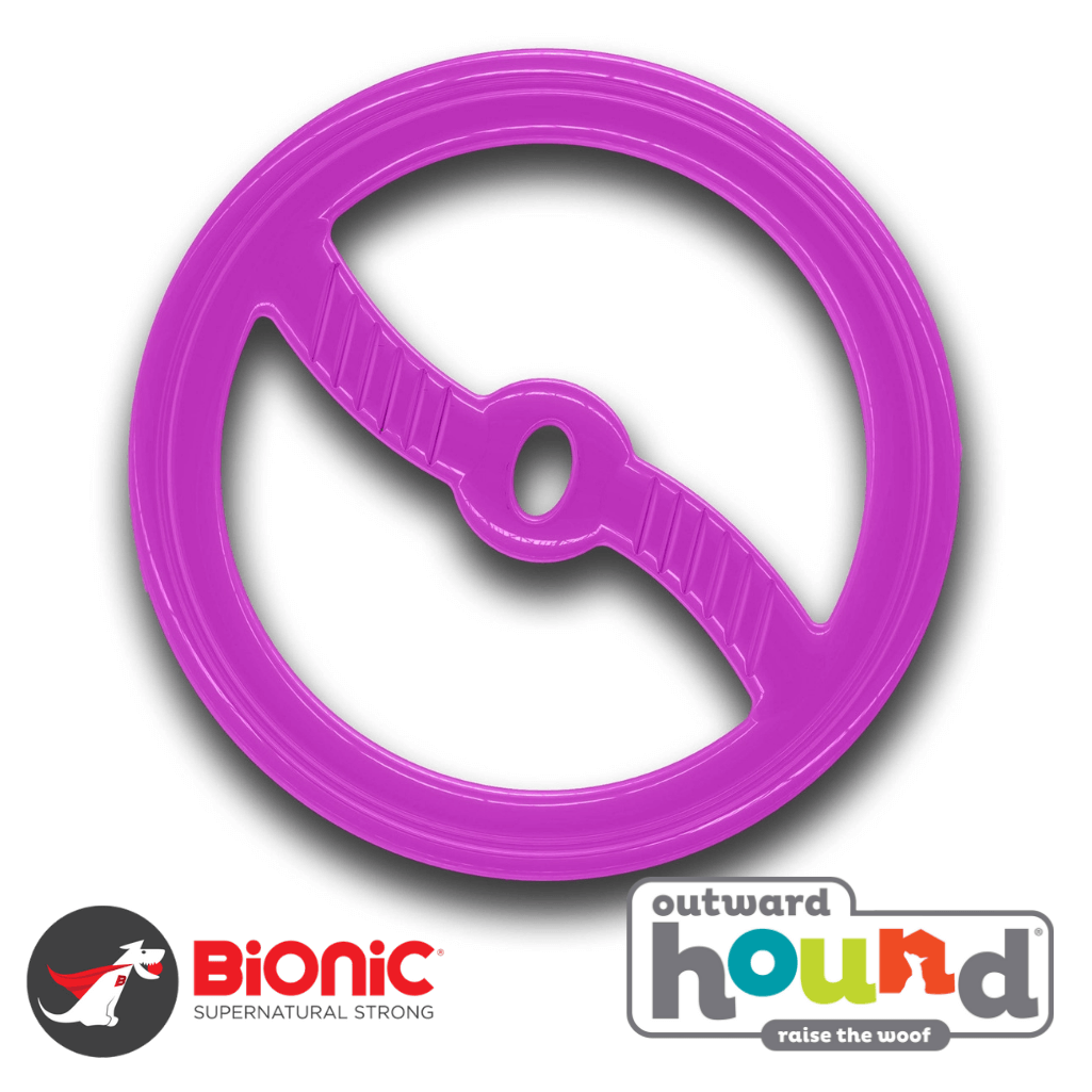 Outward Hound Bionic Toss-N-Tug Interactive Tough Dog Toy Purple