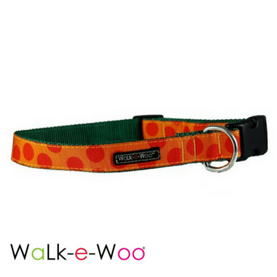 Walk-e-Woo Dog Collar Orange on Orange Dots