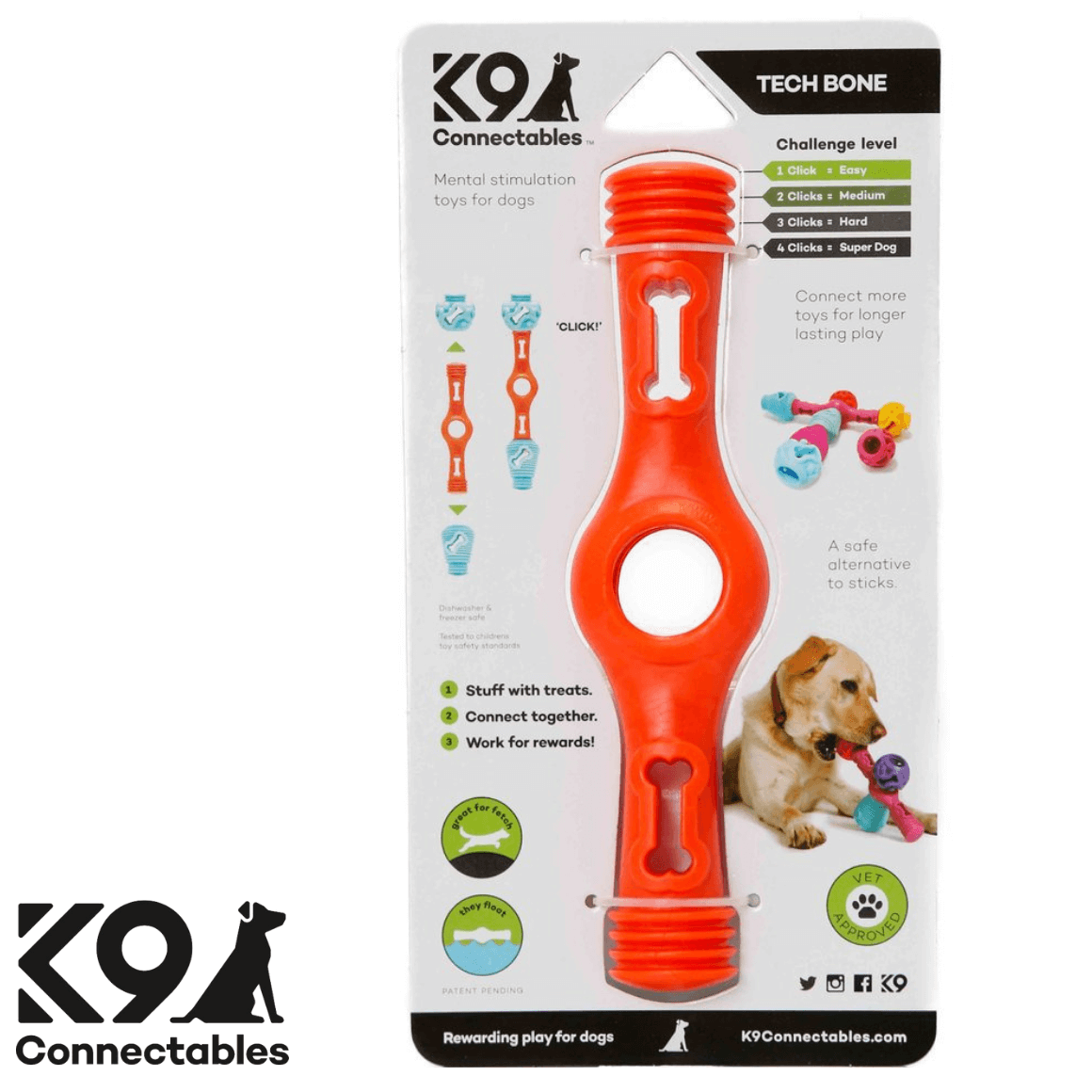 k9 Connectables Australia - The Tech Bone Orange