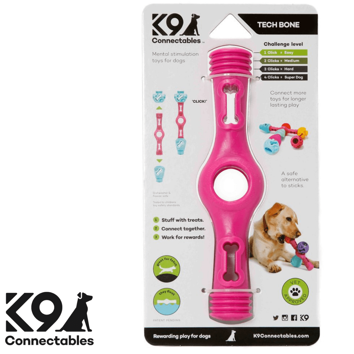 k9 Connectables Australia - The Tech Bone Pink