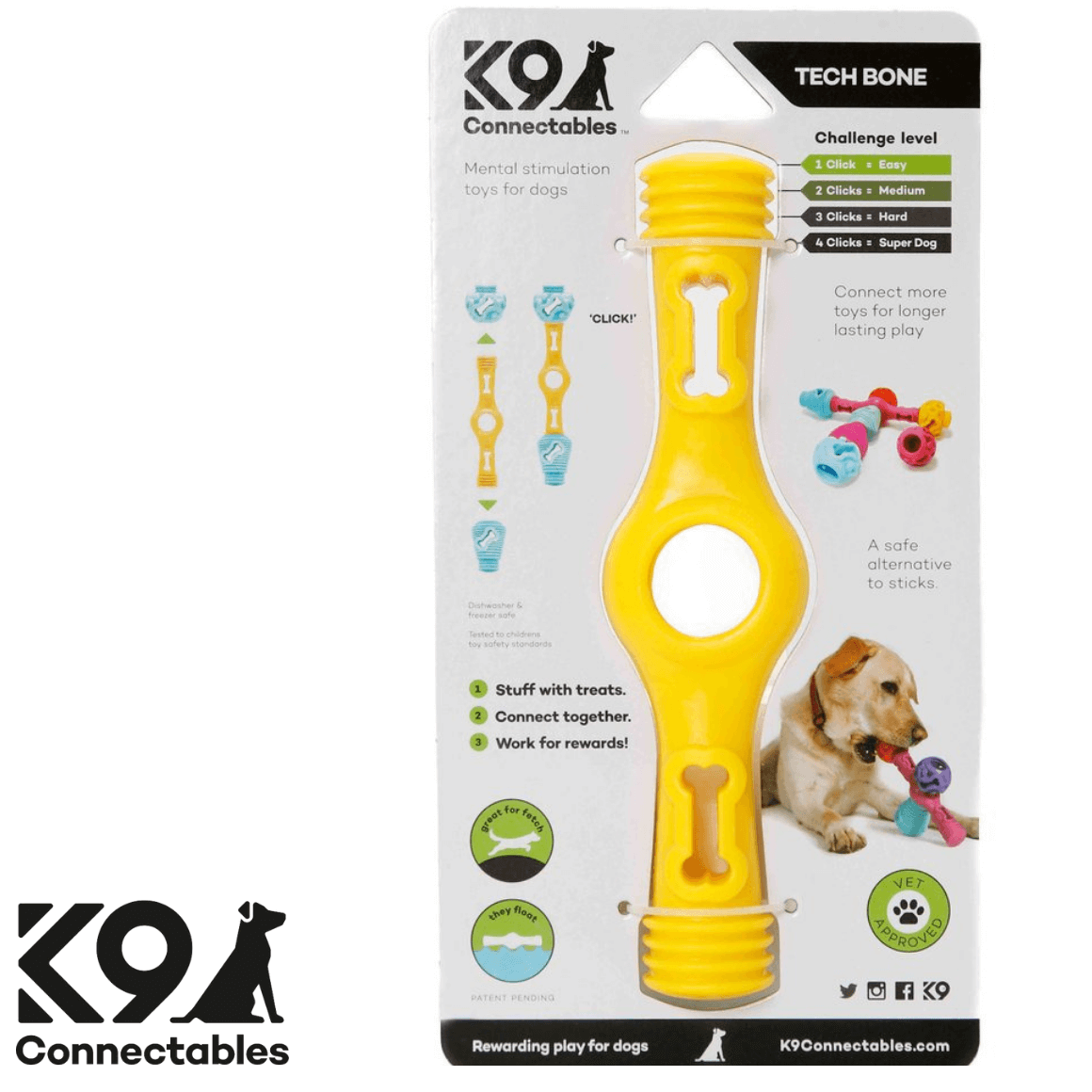 k9 Connectables Australia - The Tech Bone Yellow